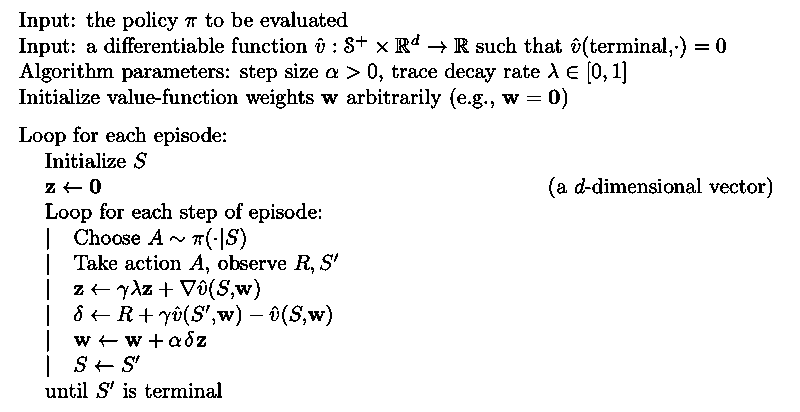 Semi-gradient TD(λ)