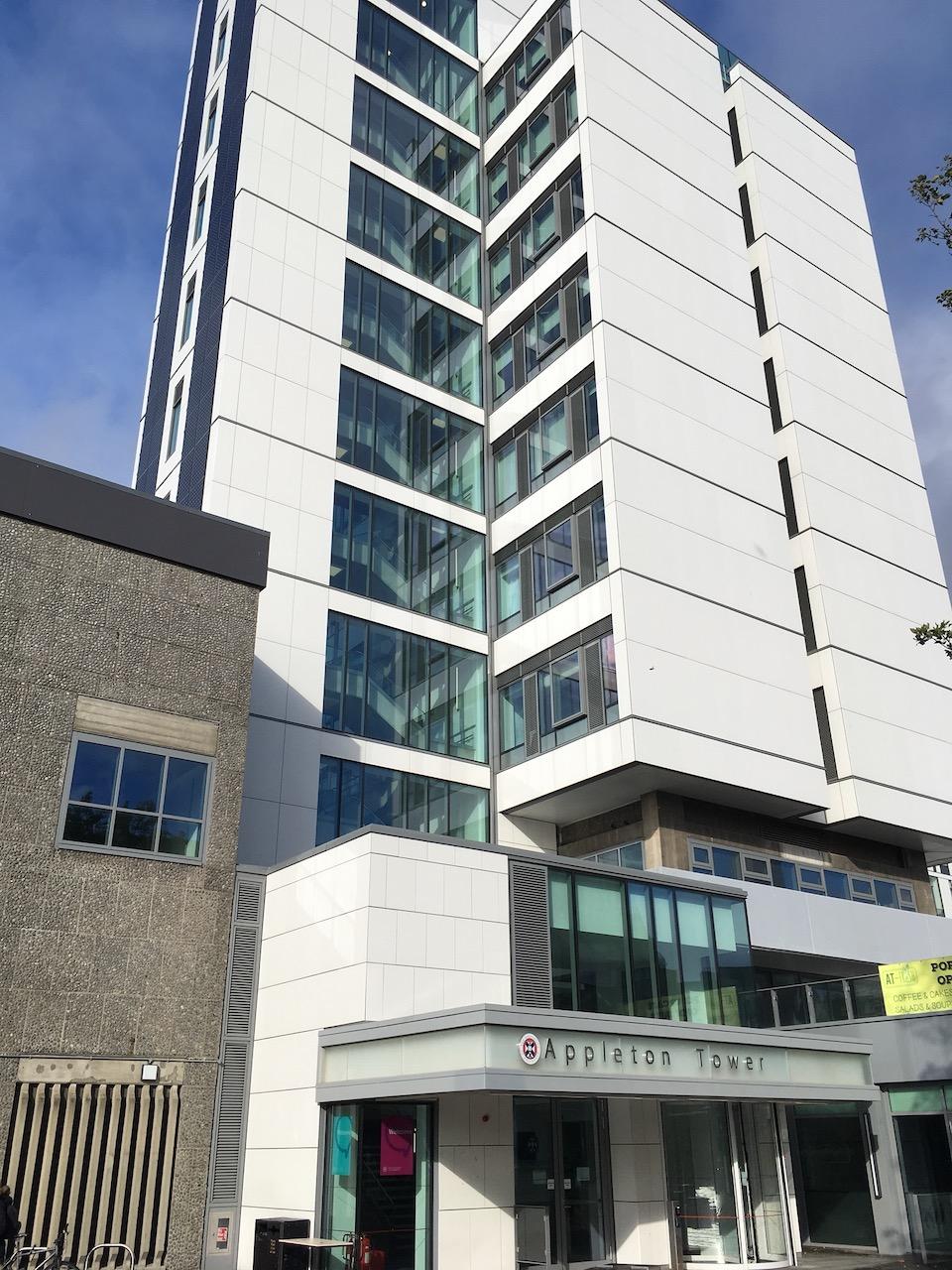 Informatics学院的教学楼Appleton tower,9层楼在爱宝已经很高了
