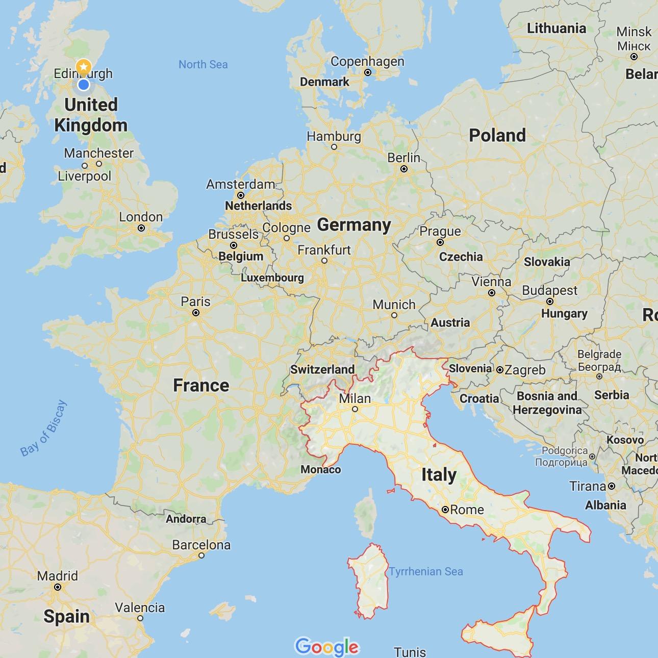 意大利在欧洲的位置