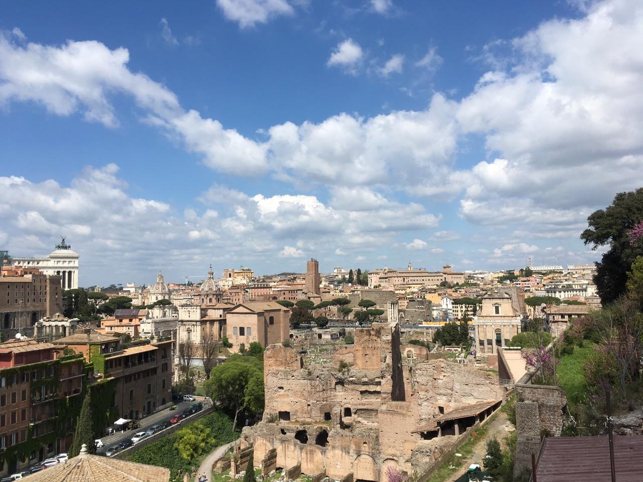 在一个观景台上,俯瞰罗马市区
