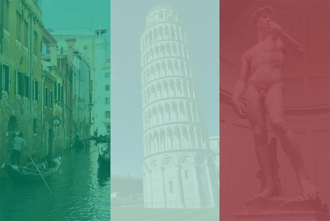 意大利 从左到右依次是威尼斯、比萨斜塔和米开朗基罗的大卫雕像